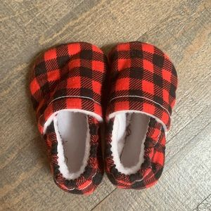 Red and Black Buffalo Plaid Soft Baby Booties